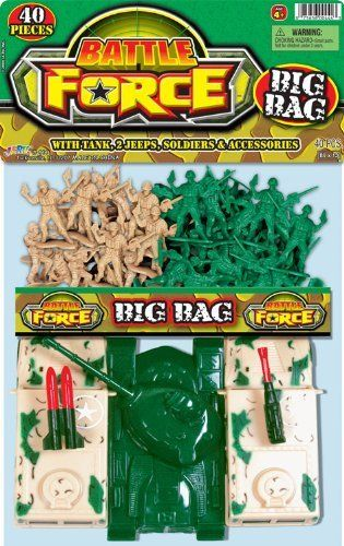 Battle Force Big Bag Soldier Playset: 40 piece Green vs. Tan Plastic Army Men 2 inch Figures with Humvees and Tank by Ja-Ru. $3.99. 18 Tan and 18 Green Plastic Army Men Figures. Packaging: Plastic Bag with Header Card. Scale: Approximatly 1:35. 2 Humvees, Tank, American Flag with Base. Size: Figures stand up to 1.9 inches tall (48mm). This is the Team Xtreme Big Bag by JA-RU® Suitable for Ages 4 & Older  FEATURES: Durable plastic construction. Tank with rotating ...