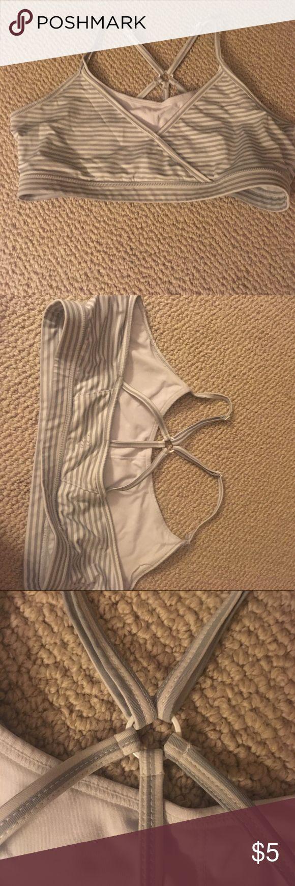 Gray striped sports bra Gray and white striped sports bra. White at top of bra and adjustable straps MPG Intimates & Sleepwear Bras