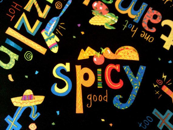 Latin Fiesta fabric with party and food theme. Black by JeAdore, $7.50