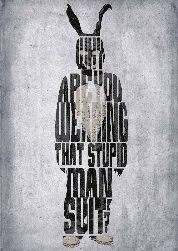 Donnie Darko, Frank l'affiche Bunny - typographie minimaliste Poster, affiche de film, Art Print, Illustration, Wall Art