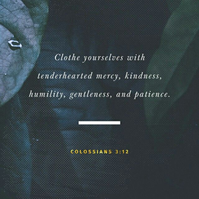 Since God chose you to be the holy people he loves, you must clothe yourselves with tenderhearted mercy, kindness, humility, gentleness, and patience. Colossians 3:12 NLT http://bible.com/116/col.3.12.NLT
