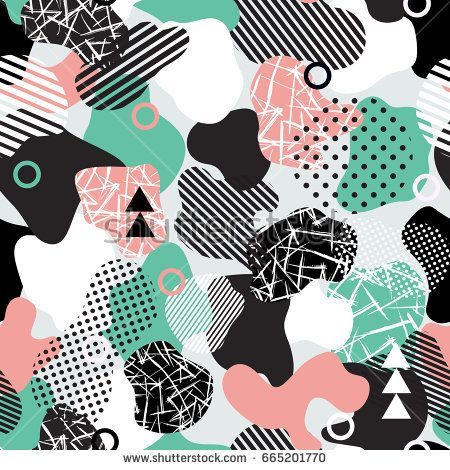 Vector abstract seamless pattern with geometric shapes in modern style.White, blue pink and black colors. Background for brochure, print, design, card, web, magazines, wallpapers.