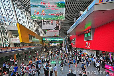 Active buyers and visitors at the entrance of hall 9.2 of canton fair at guangzhou, china.