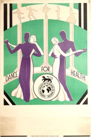 Dance For Health Art Deco, 1930s - original vintage poster by W. Maxwell Stuart listed on AntikBar.co.uk #NationalFitnessDay