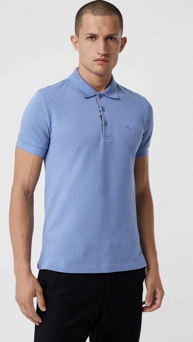 a117021097a4 Polo en piqué de algodón con tira de botones de checks (Azul Claro) -  Hombre