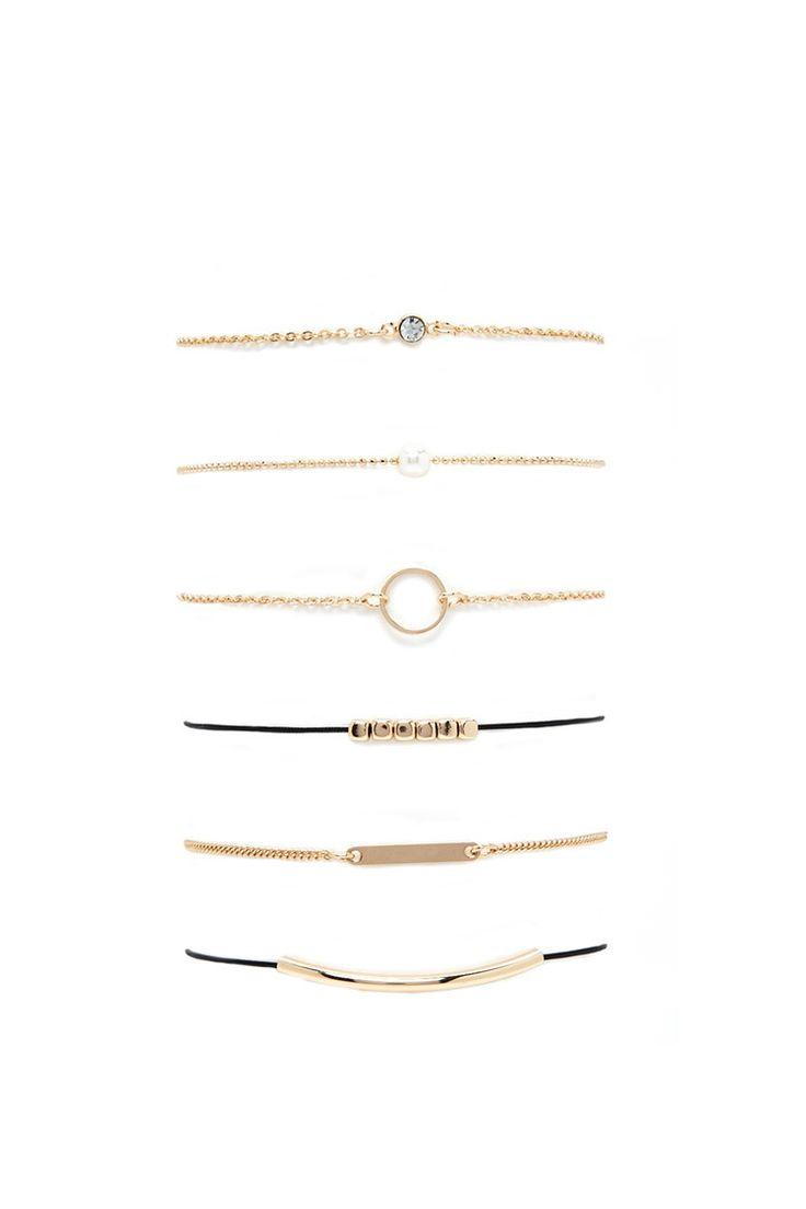 Faux Pearl Chain Bracelet Set | Forever 21 - 1000204668