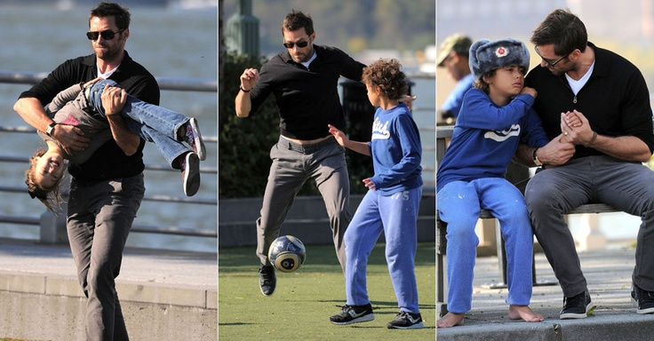 Hugh Jackman with Ava and Oscar