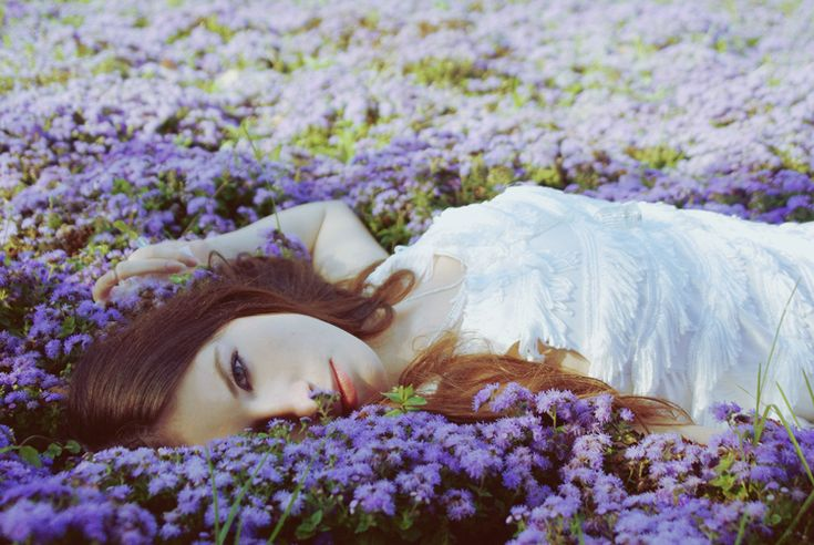 girl laying down in a field of purple violet flowers ...