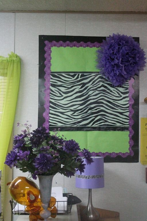 Interesting way to create a bulletin board for teachers stuff. Green/Purple/Zebra Monkey Classroom Pics