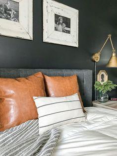 A beautiful high contrast, modern farmhouse bedroom! #SherwinWilliams #highcontrast #modernFarmhouse #bedroom