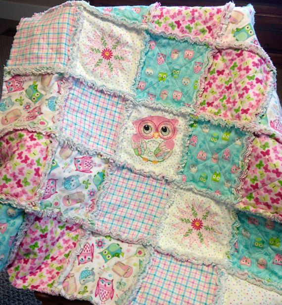 Owl baby Rag quilt flannel baby blanket embroidered owl and
