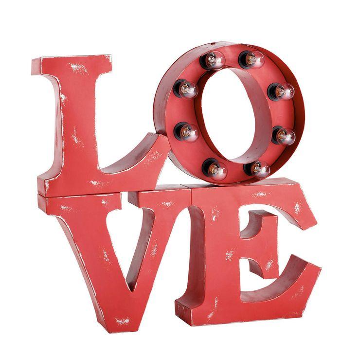 Rode oplichtende wandlamp Love ...