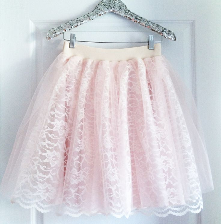 Bliss Tulle lace tulle skirt in blush