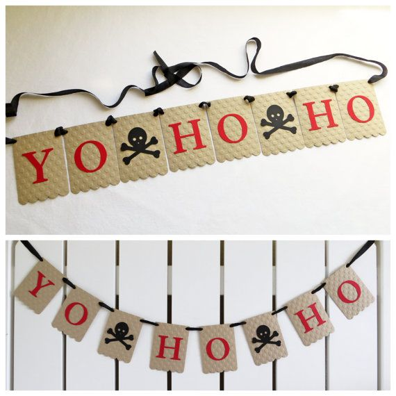 Yo Ho Ho Pirate Banner - Embossed Lrg Dots - READY TO SHIP - Pirate Party Decor Skull and Crossbones Banner Pirate Birthday Party