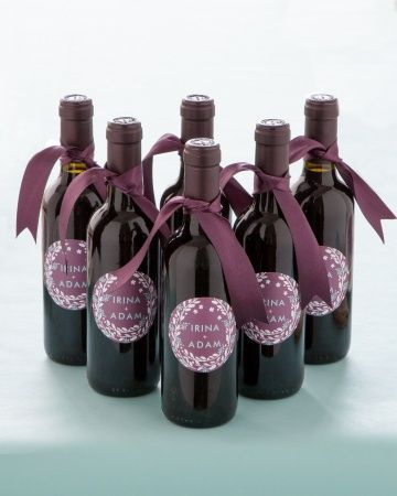 Mini wine bottle favors with custom labels designed by@Minted | Photo: Mike Krautter www.mikekrautter.com