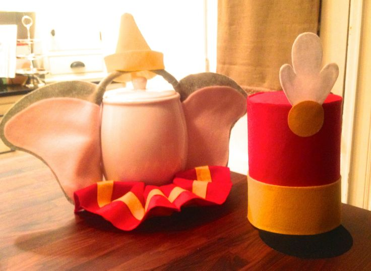 I made this set of Dumbo Ears with Hat, Dumbo Collar, & Timothy Mouse Hat with just felt, a head band, & a glue gun