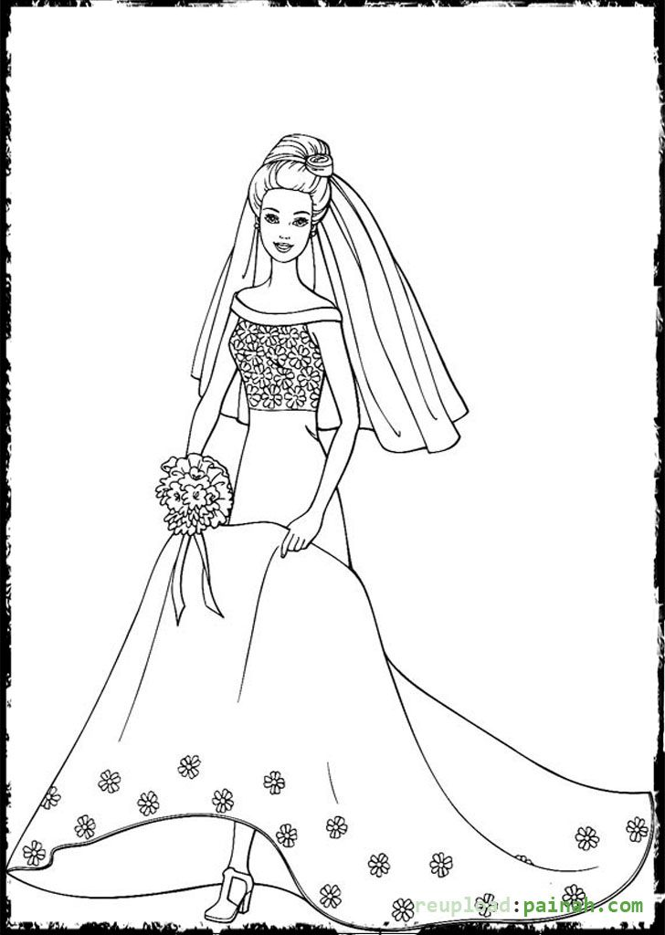 Wedding Barbie Coloring Pages Barbie Coloring Pages