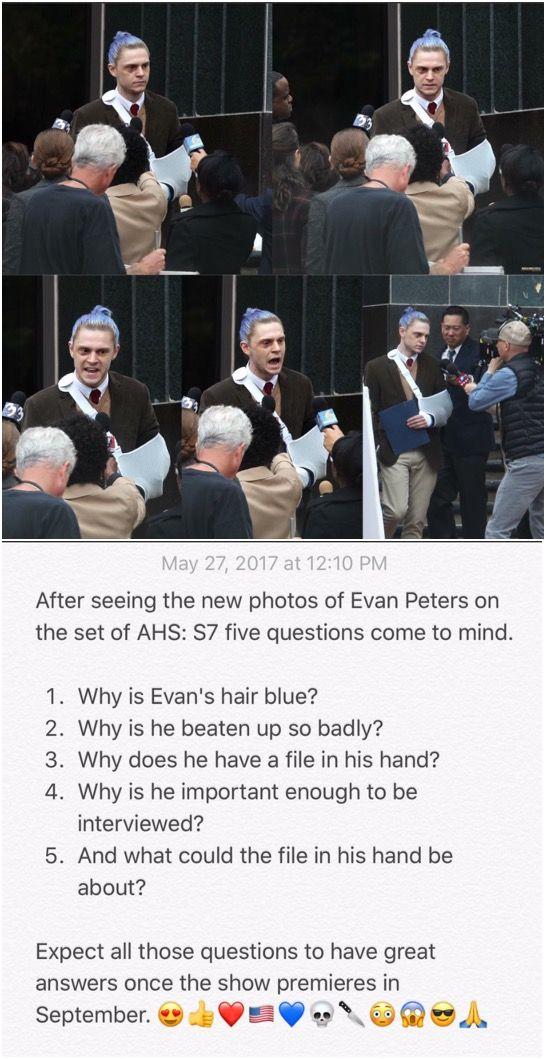 NEW | Leaked Photos of Evan Peters on the set of AHS7! Follow rickysturn/evan-peters