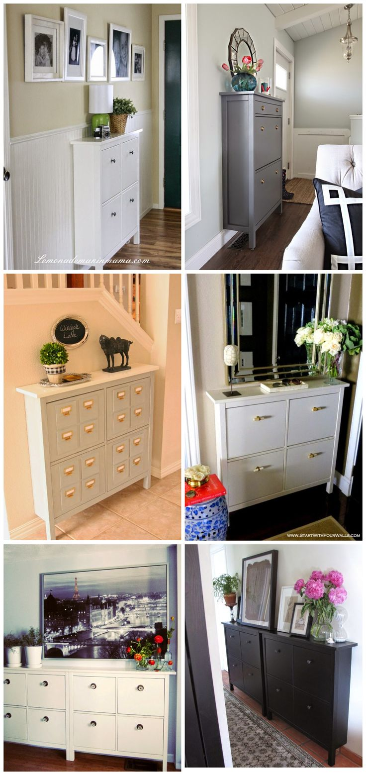 "IKEA Hemnes Shoe Cabinet only has front legs to allow for the closest fit to the wall. The minimal 8.5"" - 11.75"" depth is ideal for a small entry, hallway, back entrance, staircase landing, mudroom or office. Black or white; two sizes: 40"" H x 42""W x 8.5"" D for $99, 50"" H x 35""W x 11.75"" D for $129. Custom looks by changing out the hardware."
