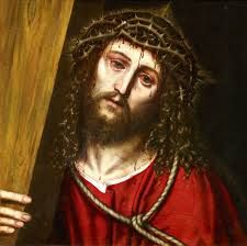 this is an emotional image of jesus carrying his cross that he was hung on up the hill portrayed as renaissance