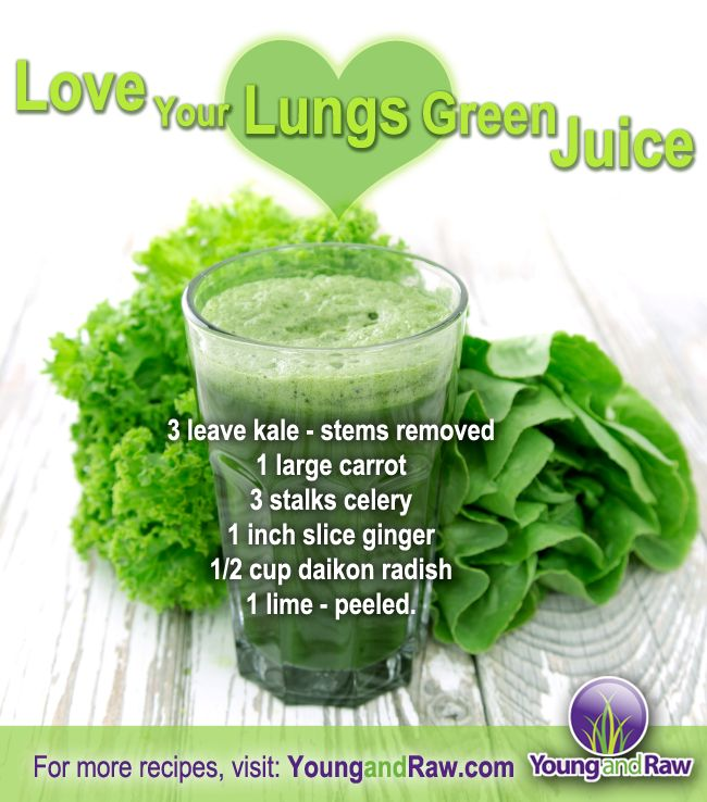 Green juice rawks! Here's a delicious recipe that's healthy for your lungs and your whole body too :) More on YoungandRaw.com