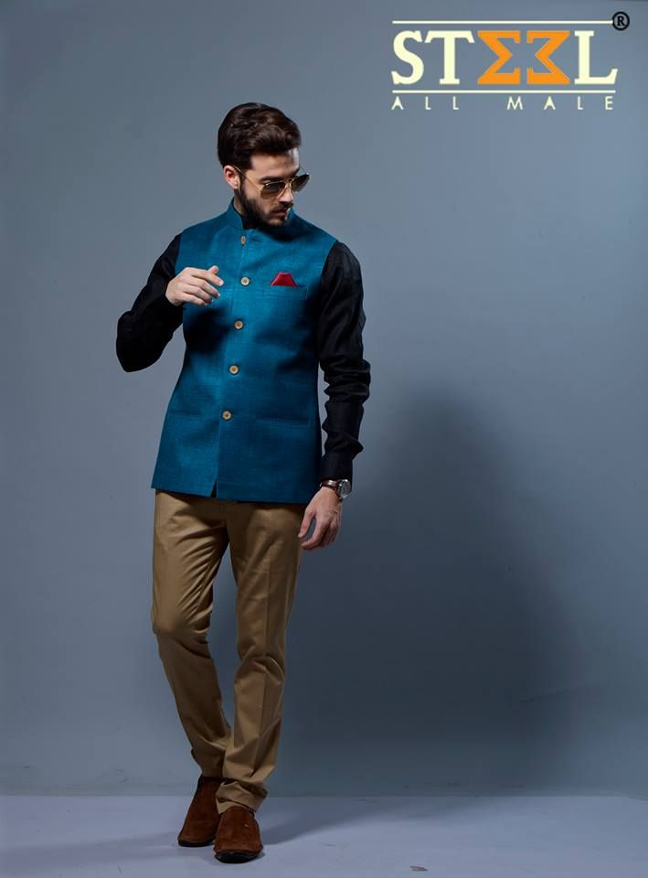 Strive for perfection in this ensemble of black shirt & khakhi trouser paired with nehru jacket !  Find more of such timeless inspirations only at Steel All Male :)  ‪#‎shirt‬ ‪#‎trouser‬ ‪#‎khakhi‬ ‪#‎nehru‬ ‪#‎jacket‬ ‪#‎shades‬ ‪#‎shoes‬ ‪#‎loafers‬