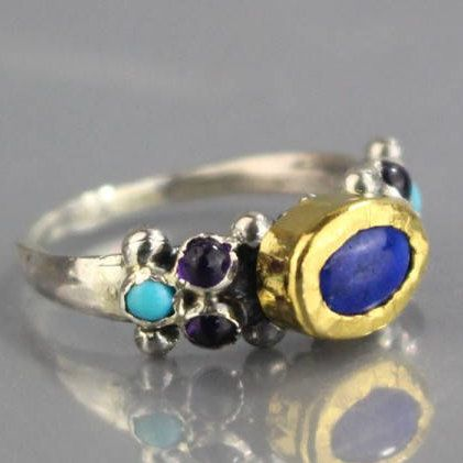 Excited to share the latest addition to my #etsy shop: hippie ring , silver and gold ring for woman , engagement rings , lapis ring amethysts gemstones http://etsy.me/2oY1TR3 #jewelry #ring #gold #no #women #blue #turquoise #lovefriendship #round