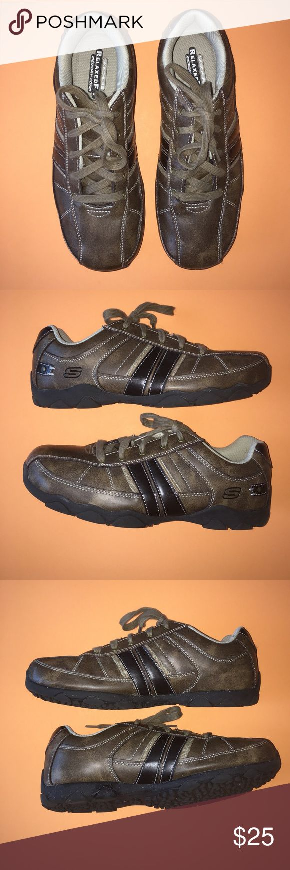➡️Skechers boys' lace up shoes-brown ➡️Brown lace up shoes in size 7 (big boys).  Man made materials with non marking soles required by most schools.  Relaxed fit with memory foam.  These shoes are in great condition since they were just worn a couple of times.  Perfect for school or to wear with slacks for Easter. Skechers Shoes Dress Shoes