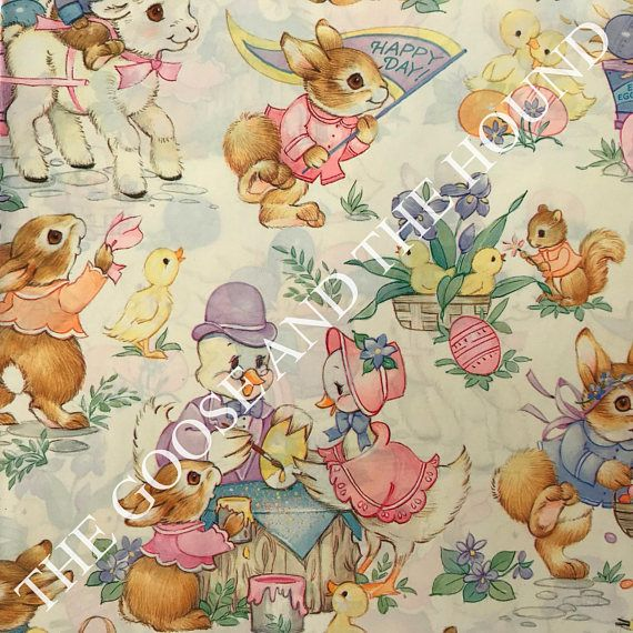1973 best the goose and the hound vintage wrapping paper images on vintage gift wrapping paper easter paper animal easter party by hallmark 1 unused full sheet easter gift wrap negle Images