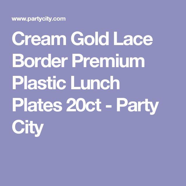 Cream Gold Lace Border Premium Plastic Lunch Plates 20ct - Party City