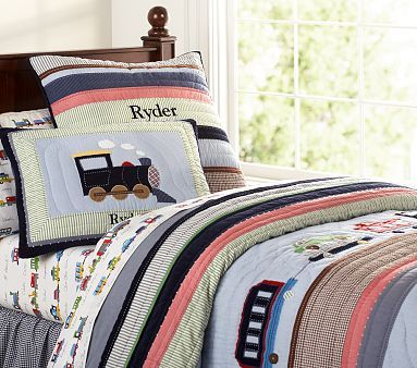 New Pottery Barn Kids Ryder Train Quilted Bedding Twin