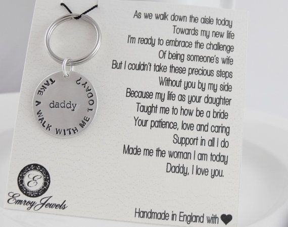 Father of the bride gift. Personalized brides father keychain. Keyring and customized wedding day poem. Walk down the aisle. Give me away. on Etsy, $53.01 AUD