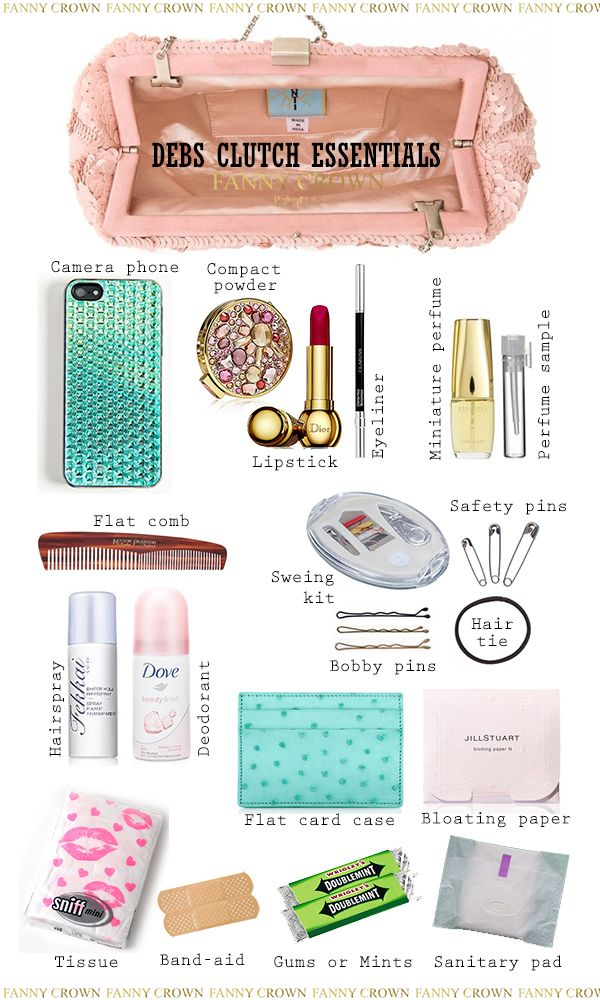 We share with you the right amount of essentials for a debs clutch. What items are essentials for debs clutch? Find out here...