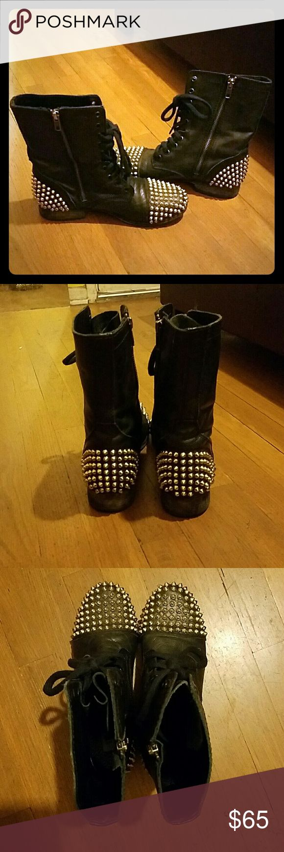 "Steve Madden Studded Combat Boots Studded combat boots from Steve Madden. Style name is ""Tarney"". Real leather and beautiful metal studs. Steve Madden Shoes Combat & Moto Boots"
