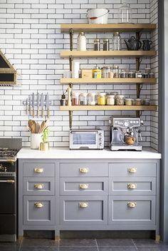Having a Moment: Blue-Gray Kitchen Cabinets // subway tile, open shelving, espresso machine, brass handles