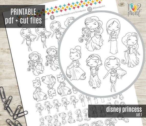 Disney Princess set I Planner Stickers, Printable Stickers, Character Stickers, Functional, Bullet J