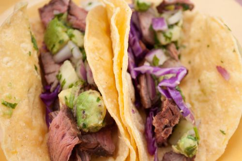 Grilled Steak Tacos with Cucumber-Avocado Salsa