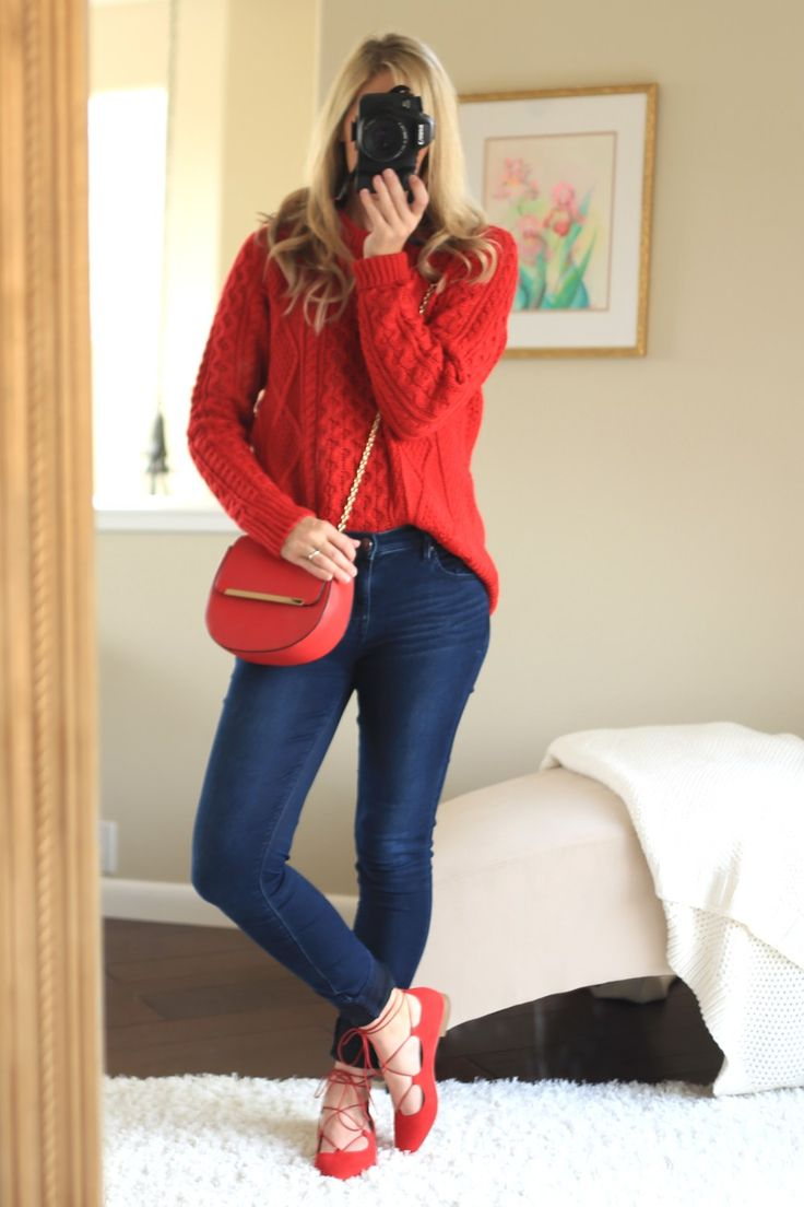Christmas outfit women casual red winter outfits
