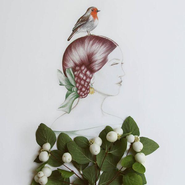 Sanatlı Bi Blog Çizimlerini Çiçekler ile Tamamlayarak İlham Verici Fotoğraflar Çeken Sanatçı: 'Julia' 14