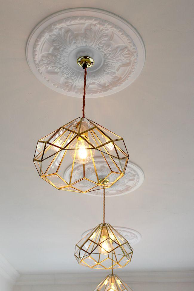 Affordable Kitchen Lighting - DIY brass lights