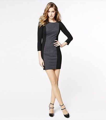 This elegant color blocked dress is perfect for going from desk to drinks!