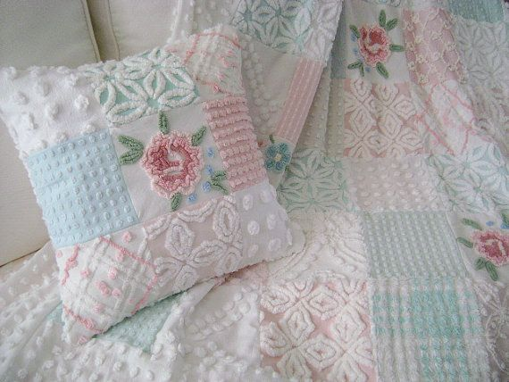 Vintage Chenille 'Cabbage Roses' - Ultra PLUSH Lap Quilt - Coverlet - Throw - Pinks, Aquas, Whites - SAMPLE - Made To Order