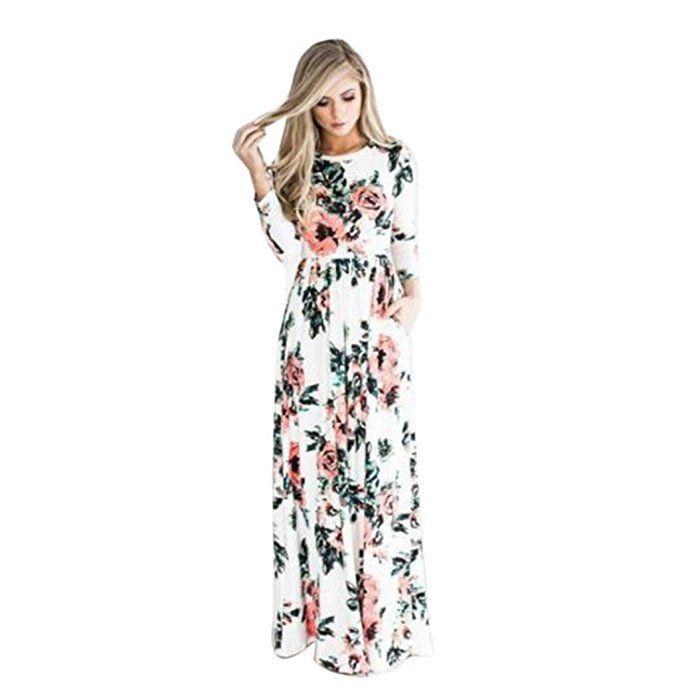 vestidos de mujer,Switchali Mujer manga larga bohemio Traje de baño para mujer Verano moda floral Vestido de playa maxi atractivo ropa nuevo 2017 barato (Asiático Tamaño:Medium, Blanco)
