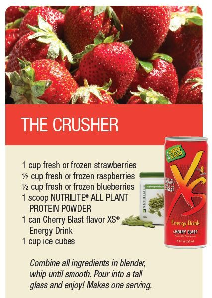 THE CRUSHER: Made from Nutrilite All Plant Protein Powder & 1 Can of Cherry Blast Flavor XS Energy Drink.