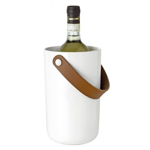 Stelton Glacier Wine Cooler - White Stoneware with Leather Handle