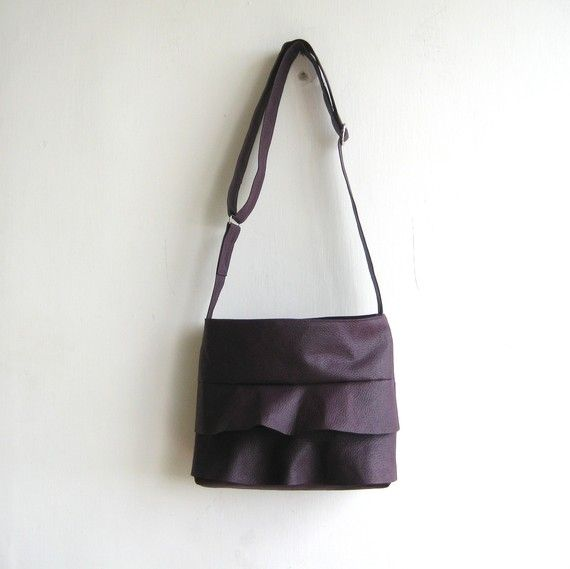 Ruffle Deep Purple Handbag  Crossbody by rutinet on Etsy