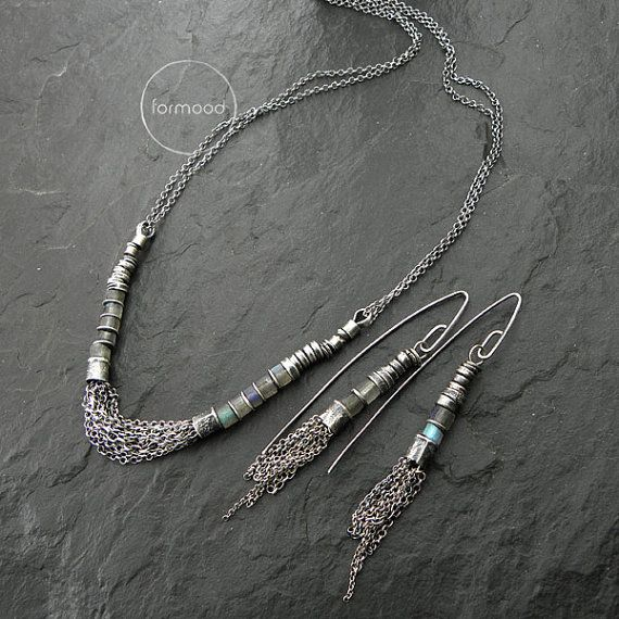 Handmade necklace is made of sterling silver 925.and natural stones - faceted labradorite.  Dimensions: Stones: approx. 0.20 inches (5 mm) Chains