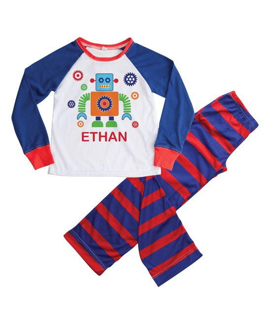 Blue & Red Robot Personalized Loungewear Set