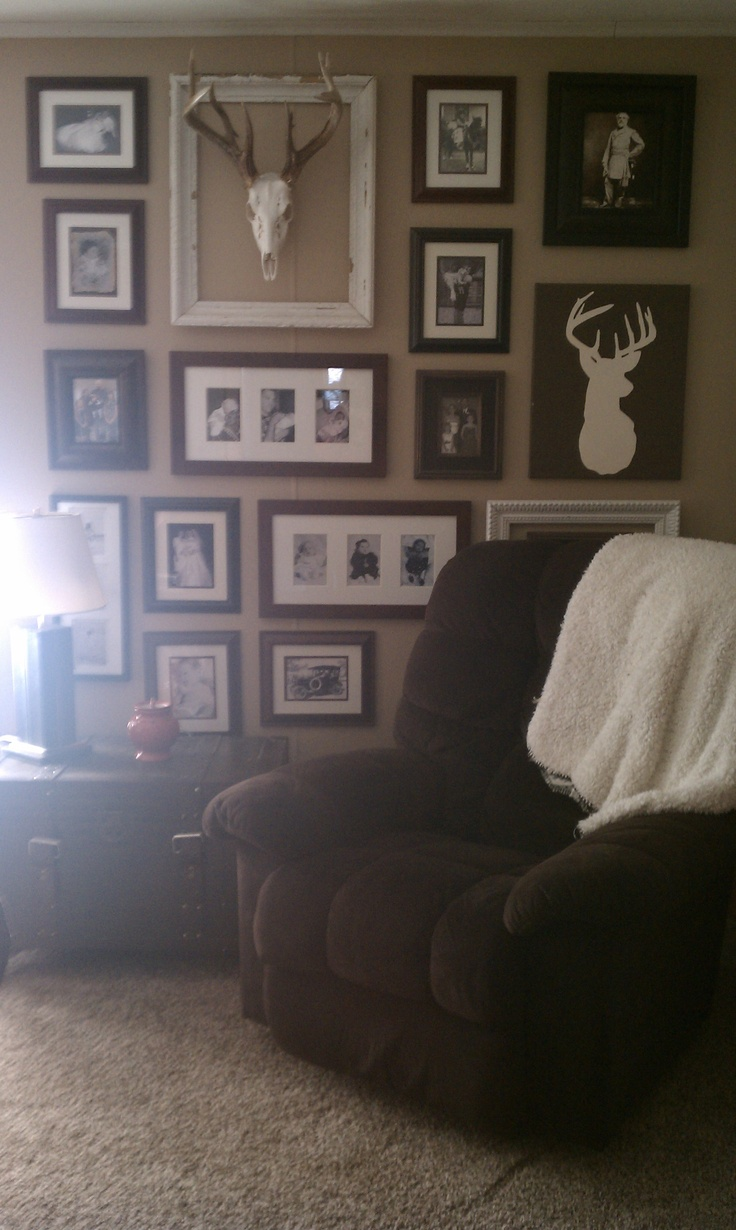 Floor to ceiling in one corner of my family room.  It took me FOREVER but I like the results.