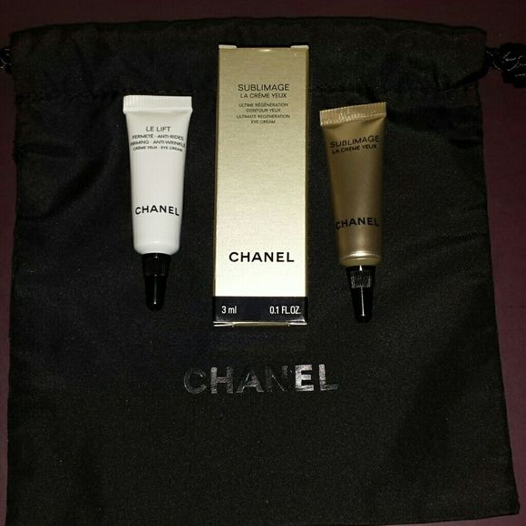 Chanel Eye Cream Set with Dust Bag Sublimage Ultimate Regeneration Eye Cream .1 oz $45 Le Lift Firming Anti Wrinkle Eye Cream .1 oz $21  Both are new and never opened.   No trades.   Please submit any offers though the offer option. CHANEL Makeup